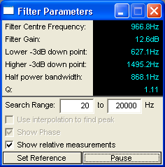 Screen shot filter measurements script interface