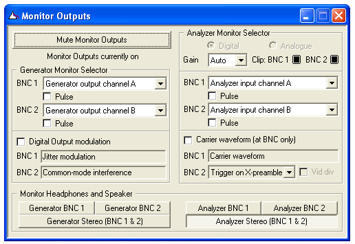 Monitor Outputs settings dialogue