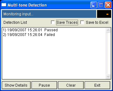 multi-tone transmission test script user interface
